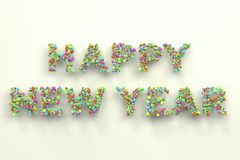 Happy New Year words from colorful balls on white background. New Year sign. 3D rendering illustration Royalty Free Stock Photos