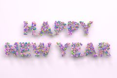 Happy New Year words from colorful balls on white background. New Year sign. 3D rendering illustration Royalty Free Stock Image