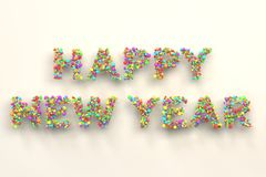 Happy New Year words from colorful balls on white background. New Year sign. 3D rendering illustration Stock Image