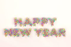 Happy New Year words from colorful balls on white background. New Year sign. 3D rendering illustration Royalty Free Stock Photography