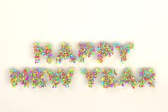 Happy New Year words from colorful balls on white background. New Year sign. 3D rendering illustration Stock Photo