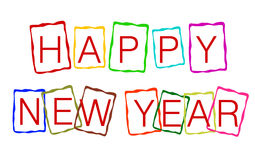 Happy New Year. The words Happy New Year with different color frame Stock Photography