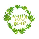 Happy New Year words and fresh green leaves in circle on white b. Ackground Stock Images