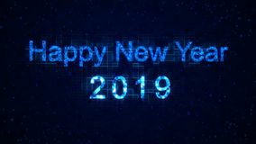 Happy New Year 2019 words from graphic elements on a technology background. Holiday animated virtual digital background. Happy New Year 2019 words from graphic stock video