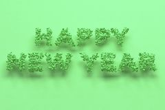 Happy New Year words from green balls on green background. New Year sign. 3D rendering illustration Royalty Free Stock Photography