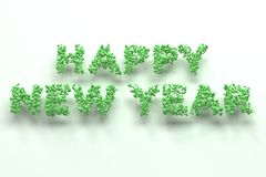 Happy New Year words from green balls on white background. New Year sign. 3D rendering illustration royalty free illustration
