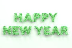 Happy New Year words from green balls on white background. New Year sign. 3D rendering illustration Stock Images
