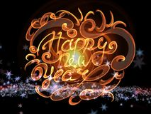 Happy new year words lettering written with fire flame or smoke on bright space background with planet.  Stock Photos