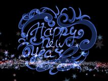 Happy new year words lettering written with fire flame or smoke on bright space background with stars royalty ilustracja
