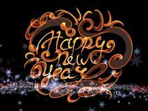 Happy new year words lettering written with fire flame or smoke on bright space background with stars.  Stock Image