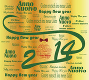 2014 happy new year. Happy new year 2014 words in many languages and  merry christmas Stock Images