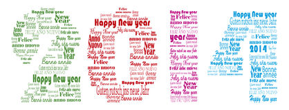 Happy new year 2014 words in many languages Royalty Free Stock Photography