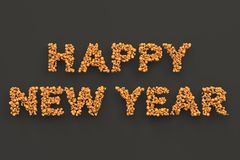 Happy New Year words from orange balls on black background. New Year sign. 3D rendering illustration Stock Photography