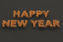 Happy New Year words from orange balls on black background. New Year sign. 3D rendering illustration Royalty Free Stock Images