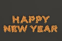 Happy New Year words from orange balls on black background. New Year sign. 3D rendering illustration Royalty Free Stock Photo