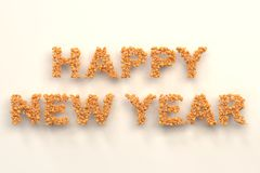 Happy New Year words from orange balls on white background. New Year sign. 3D rendering illustration Stock Photo