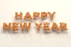 Happy New Year words from orange balls on white background. New Year sign. 3D rendering illustration Stock Photos