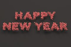 Happy New Year words from red balls on black background. New Year sign. 3D rendering illustration Stock Photos