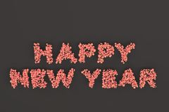Happy New Year words from red balls on black background. New Year sign. 3D rendering illustration Royalty Free Stock Photo
