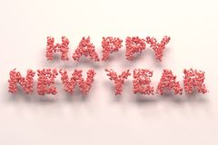 Happy New Year words from red balls on white background. New Year sign. 3D rendering illustration stock illustration