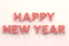 Happy New Year words from red balls on white background. New Year sign. 3D rendering illustration vector illustration