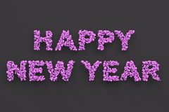 Happy New Year words from violet balls on black background. New Year sign. 3D rendering illustration Royalty Free Stock Image