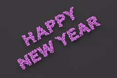 Happy New Year words from violet balls on black background. New Year sign. 3D rendering illustration Royalty Free Stock Photography