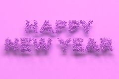 Happy New Year words from violet balls on violet background. New Year sign. 3D rendering illustration Stock Photography