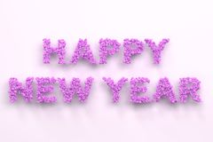 Happy New Year words from violet balls on white background. New Year sign. 3D rendering illustration Royalty Free Stock Photo