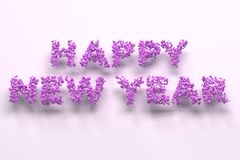Happy New Year words from violet balls on white background. New Year sign. 3D rendering illustration Stock Photography