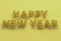 Happy New Year words from yellow balls on yellow background. New Year sign. 3D rendering illustration Stock Photo