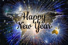 Happy new Year worl map fireworks celebration background Stock Photo