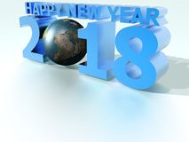 Happy New Year 2018 World Blue. Image to congratulate the new year, to use as background image, greeting cards, etc royalty free illustration