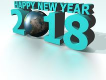 Happy New Year 2018 World Cyan Royalty Free Stock Photography