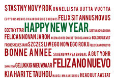 Happy new year  in 22 world languages. Typographic background happy new year Stock Photography