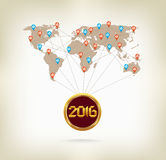 2016 happy new year in the world with map.  Royalty Free Stock Images
