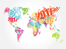 2017 Happy New Year, World Map. In Typography word cloud collage concept Royalty Free Stock Image