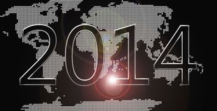 Happy new year world. Silver happy new year 2014 card Royalty Free Stock Photo