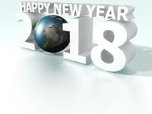 Happy New Year 2018 World Silver White Stock Photos