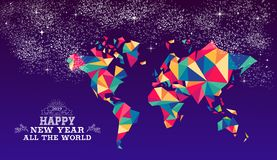Happy new year 2019 world triangle hipster color. Happy new year around the world 2019 worldwide greeting card or poster design with colorful triangle globe map stock illustration