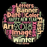 Happy new year 2018 in world. Word cloud of the happy new year 2018. Celebration in the all world vector illustration
