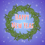 Happy New year. A wreath of fir branches. Royalty Free Stock Photo