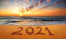 Happy New Year 2021! Written 2021 on the beach. Happy New Year 2021 is coming concept sandy