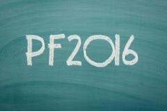 Happy new year 2016 written on chalkboard. Stock Image