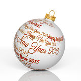 Happy new year 2015. Written on Christmas ball Stock Photography