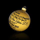 Happy new year 2015. Written on Christmas ball Royalty Free Stock Photos
