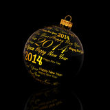 Happy new year 2014 written on Christmas ball. On black background Royalty Free Stock Photos