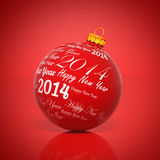 Happy new year 2014 written on Christmas ball. On red background Stock Image