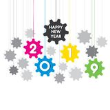 Creative happy new year 2019 design. Happy New Year 2019 written on colorful gear background design stock illustration