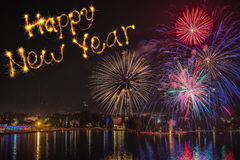 Happy new year  written with  firework on firework background. Happy new year  written with  firework Stock Photography